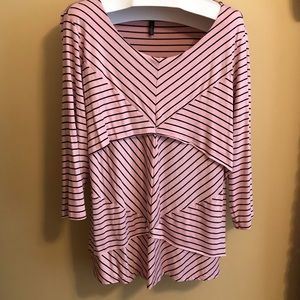 Size 3X Allie & Rob 3/4 Sleeve Striped Tunic